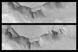 The above image is one of the first image pairs taken by the ExoMars high-resolution CaSSIS camera.